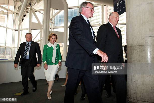 King Harald V and Queen Sonja of Norway arrive with chairman Peter Dexter to the Australian National Maritime Museum on February 24 2015 in Sydney...
