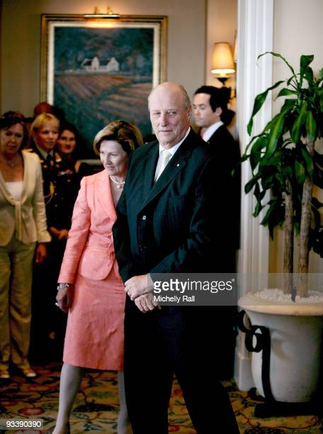 King Harald V and Queen Sonja of Norway attend a meeting with FW De Klerk Desmond Tutu and Nobel Peace Prize Laureates at the Table Bay Hotel during...