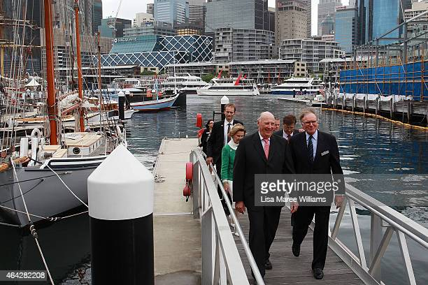 King Harald V and Queen Sonja of Norway depart the wharf after viewing the 'Kathleen Gillett Ketch' at the Australian National Maritime Museum on...