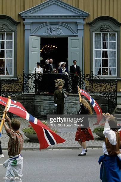 King Harald V And Queen Sonja Of Norway Princess Marthalouise And Prince Haakon Norvège Trondheim 23 Juin 1991 Au château de Stiftsgarden le plus...
