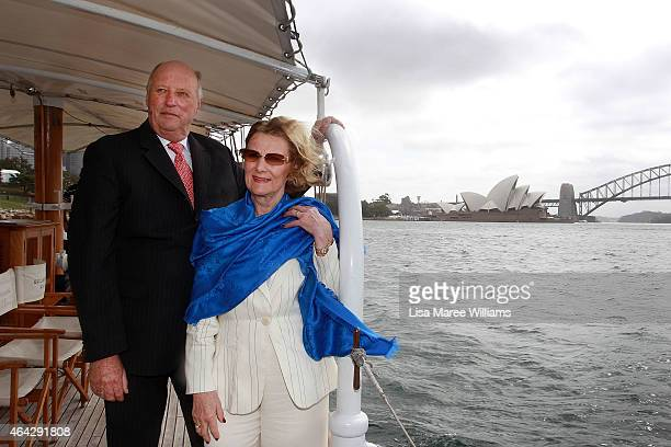 King Harald V and Queen Sonja of Norway travel on the 'Boomerang Sydney Heritage Fleet' on Sydney Harbour on February 24 2015 in Sydney Australia The...