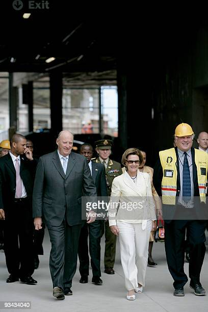 King Harald V and Queen Sonja of Norway visit Green Point Stadium one of the 2010 FIFA World Cup soccer venues on November 26 2009 in Cape Town South...