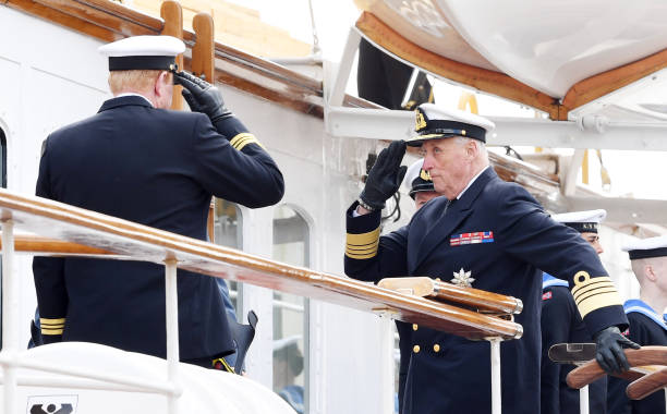NOR: The Norwegian Royals Inspect Royal Yacht Norge In Oslo