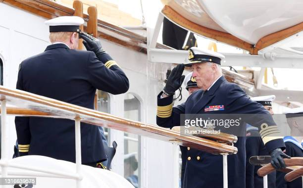 King Harald V attends an inspection of the Royal Yacht Norge on May 6, 2021 in Oslo, Norway. .