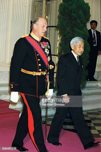King Harald V of Norway and Emperor Akihito leave the Akasaka State Guest House after the welcome ceremony on March 26 2001 in Tokyo Japan