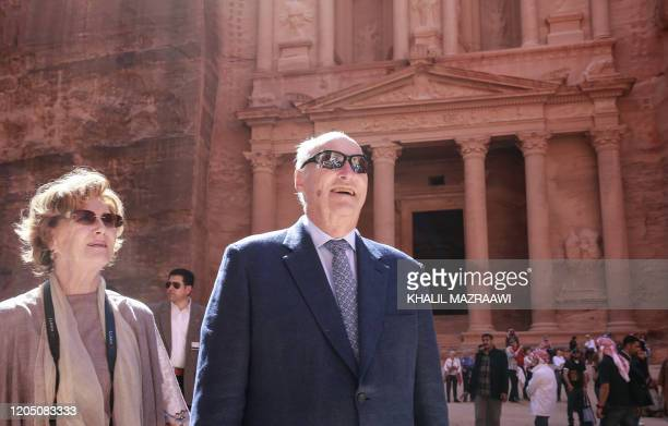 King Harald V of Norway and his wife Queen Sonja visit Jordan's archaeological city of Petra south of the capital Amman on March 4 2020