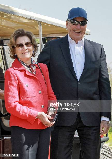 King Harald V of Norway and his wife Queen Sonja visit the baptism site of alMaghtas where Jesus is believed by Christians to have been baptised by...