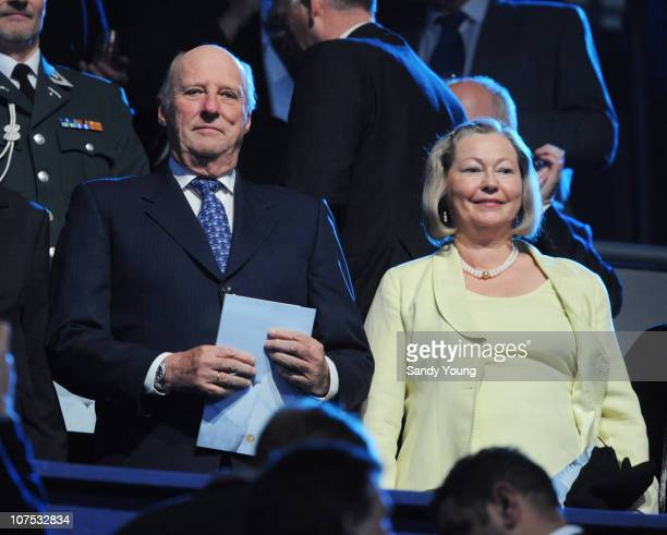 King Harald V of Norway and Kaci Kullman Five member of the Nobel Committee take their seats at the Nobel Peace Prize Concert at Oslo Spektrum on...