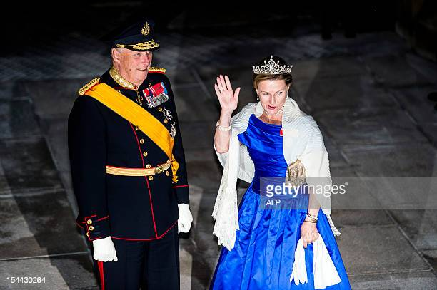 King Harald V of Norway and Queen Sonja of Norway arrive for a gala dinner at the Grand-Ducal palace, after the civil wedding of Crown Prince...