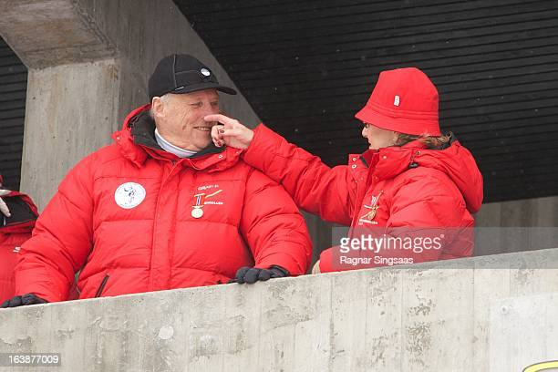 King Harald V of Norway and Queen Sonja of Norway attend FIS World Cup Nordic Holmenkollen 2013 on March 17 2013 in Oslo Norway