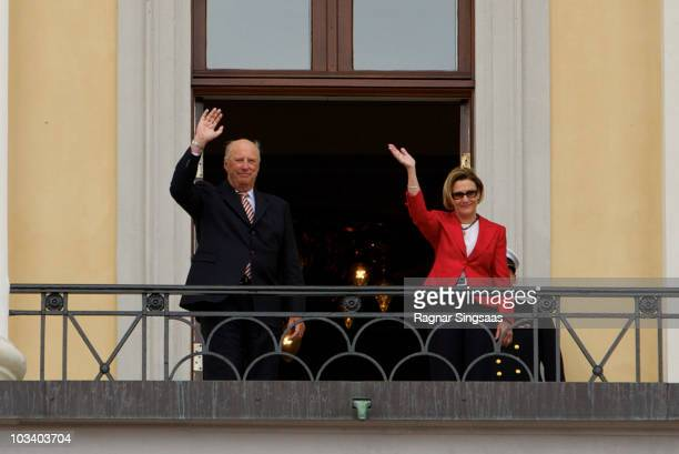 King Harald V of Norway and Queen Sonja of Norway attend His Majesty The King's Guard performance at Palace Square on August 16 2010 in Oslo Norway