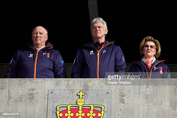 King Harald V of Norway and Queen Sonja of Norway attend the FIS Nordic World Cup on March 15 2015 in Oslo Norway