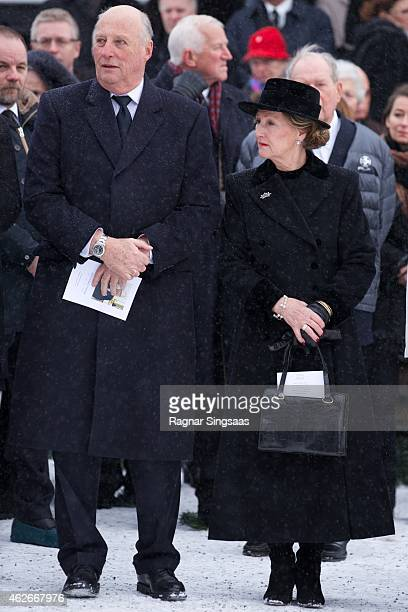 King Harald V of Norway and Queen Sonja of Norway attend the Funeral Service of Mr Johan Martin Ferner on February 2, 2015 in Oslo, Norway.