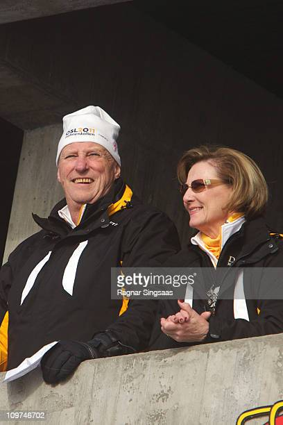 King Harald V of Norway and Queen Sonja of Norway attend the Ladies Relay 4x5km Classic/Free race during the FIS Nordic World Ski Championships 2011...