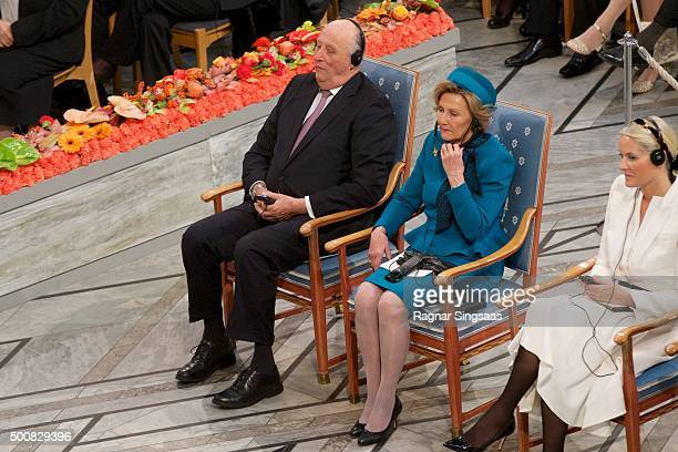 King Harald V of Norway and Queen Sonja of Norway attend the Nobel Peace Prize ceremony at Oslo City Town Hall on December 10 2015 in Oslo Norway