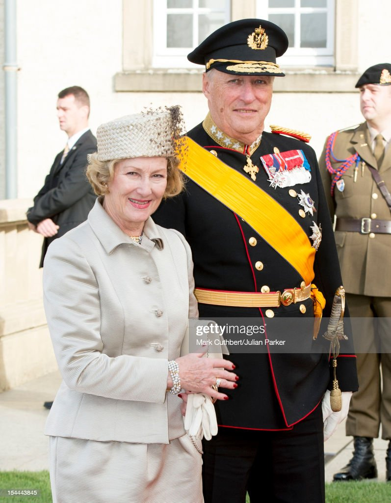 King Harald V of Norway and Queen Sonja of Norway attend the wedding ceremony of Prince Guillaume Of Luxembourg and Stephanie de Lannoy at the Cathedral of our Lady of Luxembourg on October 20, 2012 in Luxembourg, Luxembourg. The 30-year-old hereditary Grand Duke of Luxembourg is the last hereditary Prince in Europe to get married, marrying his 28-year-old Belgian Countess bride in a lavish 2-day ceremony.