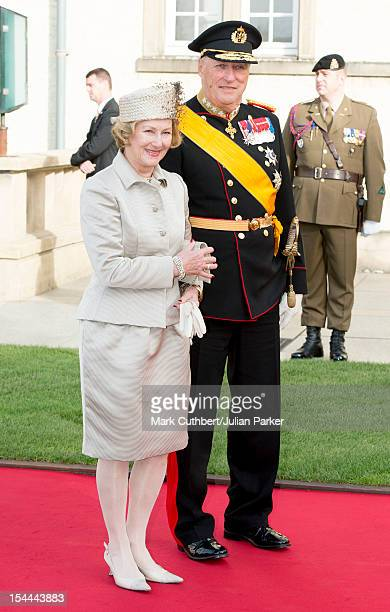 King Harald V of Norway and Queen Sonja of Norway attend the wedding ceremony of Prince Guillaume Of Luxembourg and Stephanie de Lannoy at the...