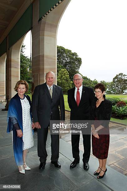 King Harald V of Norway and Queen Sonja of Norway pose with NSW Governor David Hurley and Linda Hurley at NSW Government House on February 25 2015 in...