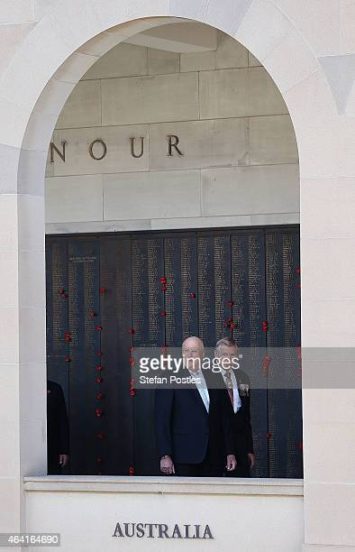 King Harald V of Norway and Queen Sonja of Norway visit the Australian War Memorial on February 23 2015 in Canberra Australia The royal couple...