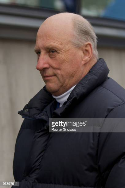 King Harald V of Norway arrives at the World Cup Biathlon competition at Holmenkollen on March 20 2010 in Oslo Norway