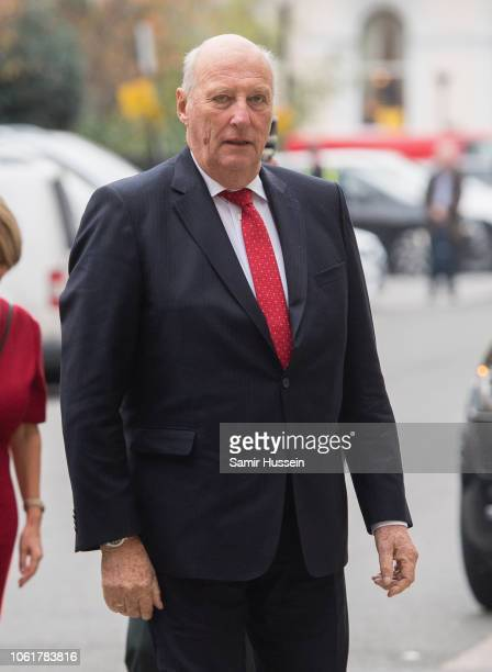 King Harald V of Norway attends the AngloNorse Society centenary reception at The Naval Military Club on November 15 2018 in London England Queen...