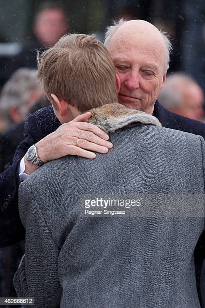 King Harald V of Norway attends the Funeral Service of Mr Johan Martin Ferner on February 2, 2015 in Oslo, Norway.
