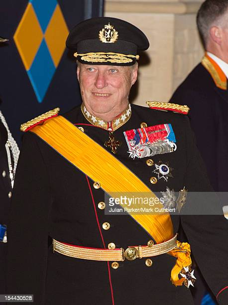 King Harald V of Norway attends the Gala dinner for the wedding of Prince Guillaume Of Luxembourg and Stephanie de Lannoy at the Grandducal Palace on...