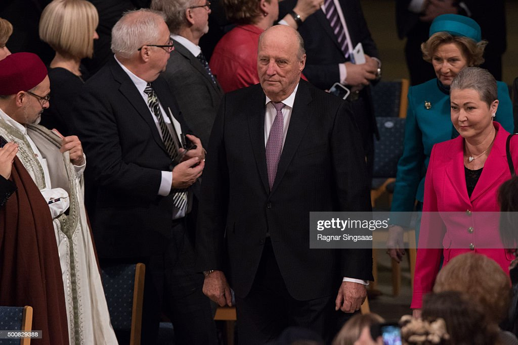 King Harald V of Norway attends the Nobel Peace Prize ceremony at Oslo City Town Hall on December 10, 2015 in Oslo, Norway.