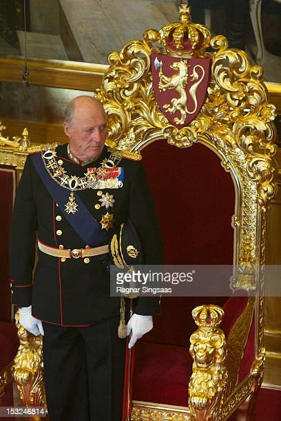 King Harald V of Norway attends the opening of the 157th Storting on October 2 2012 in Oslo Norway