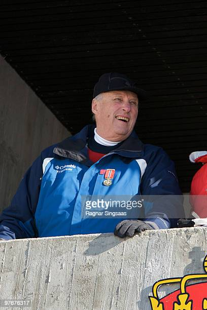 King Harald V of Norway attends the World Cup Nordic at Holmenkollen on March 13 2010 in Oslo Norway