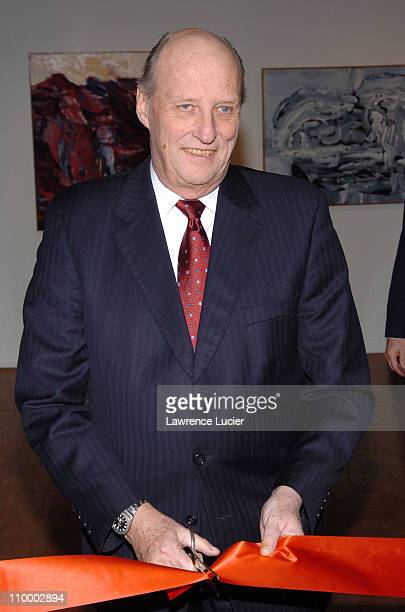 HM King Harald V of Norway during The King and Queen of Norway Open NORGE Contemporary Landscapes From the Collection of HM Queen Sonja of Norway at...