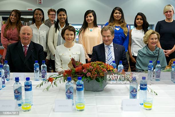 King Harald V of Norway First Lady of Finland Jenni Haukio President of Finland Sauli Vainamo Niinisto and Queen Sonja of Norway visit Rommen school...