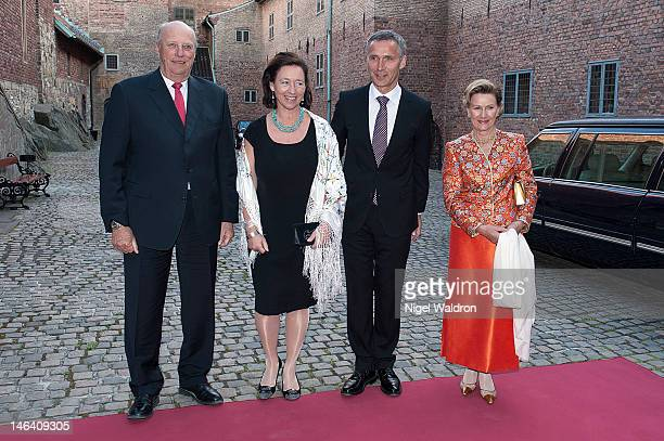King Harald V of Norway Ingrid Schulerud of Norway Prime Minister Jens Stoltenberg of Norway and Queen Sonja of Norway pose together prior to the...