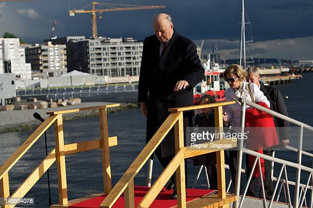 King Harald V of Norway Leah Isadora Behn and Queen Sonja of Norway celebrate their 75th birthdays at Oslo Opera House on May 31 2012 in Oslo Norway