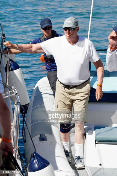 King Harald V of Norway on board of Fram XVIII during the 38th Copa Del Rey Mapfre Sailing Cup at Real Club Nautico on July 29, 2019 in Palma de...