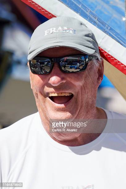 King Harald V of Norway on board of Fram XVIII during the 38th Copa Del Rey Mapfre Sailing Cup at Real Club Nautico on July 29 2019 in Palma de...