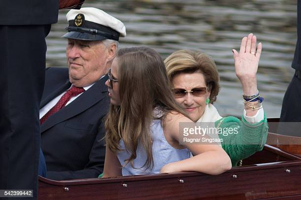 King Harald V of Norway Princess Ingrid Alexandra of Norway and Queen Sonja of Norway arrive at Ravnakloa fish market during the Royal Silver Jubilee...