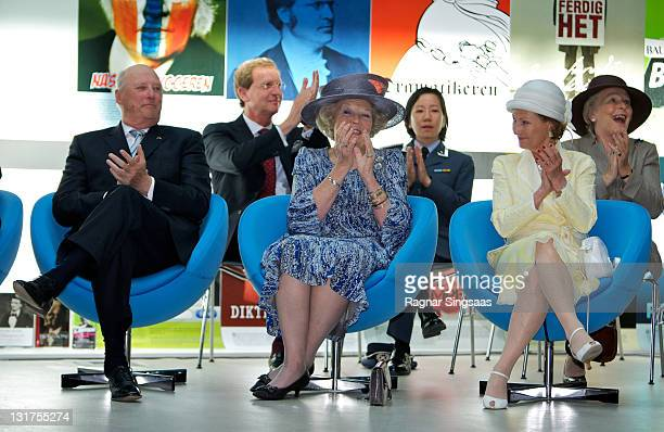 King Harald V of Norway Queen Beatrix of the Netherlands and Queen Sonja of Norway visit a school during a state visit from the Netherlands Royal...