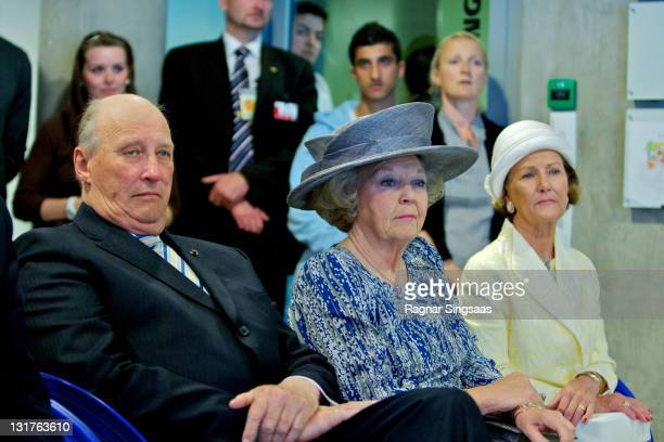 King Harald V of Norway, Queen Beatrix of the Netherlands and Queen Sonja of Norway visit a school during a state visit from the Netherlands Royal...