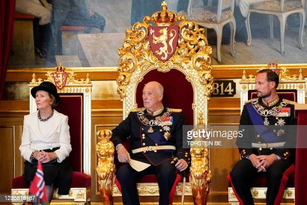 King Harald V of Norway , Queen Sonja of Norway and Crown Prince Haakon of Norway attend the solemn opening of the Storting, Norway's Parliament,...