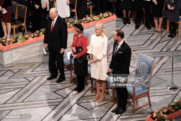 King Harald V of Norway, Queen Sonja of Norway, Crown Princess Mette Marit of Norway and Crown Prince Haakon of Norway attend the Nobel Peace Prize...
