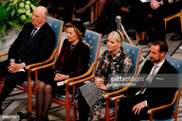 King Harald V of Norway Queen Sonja of Norway Crown Princess MetteMarit of Norway and Haakon Crown Prince of Norway attend the award ceremony of the...