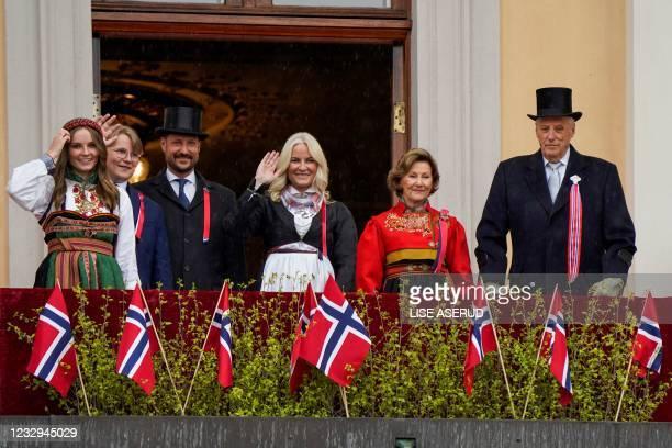 King Harald V of Norway, Queen Sonja of Norway, Crown Princess Mette-Marit of Norway Crown Prince Haakon of Norway, Prince Sverre Magnus and Princess...