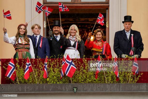 King Harald V of Norway, Queen Sonja of Norway, Crown Princess Mette-Marit of Norway, Crown Prince Haakon of Norway, Prince Sverre Magnus and...