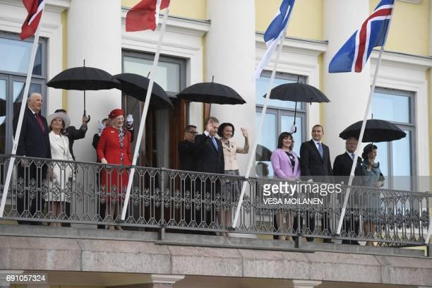 King Harald V of Norway, Queen Sonja of Norway, Queen Margrethe II of Denmark, Finnish President Sauli Niinisto, his wife Jenni Haukio, Icelandic...