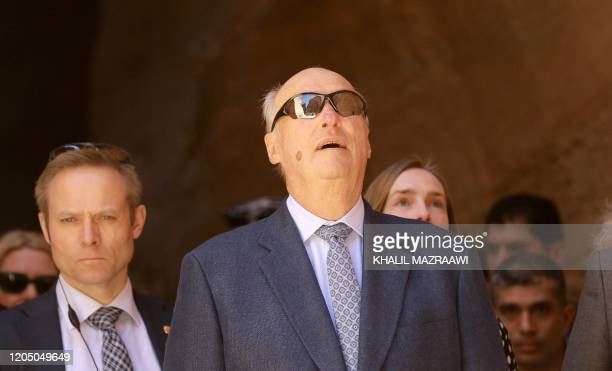 King Harald V of Norway visits Jordan's archaeological city of Petra south of the capital Amman on March 4 2020