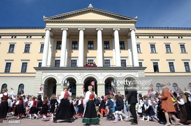 King Harald V Queen Sonja Crown Prince Haakon Crown Princess Mette Marit Princess Ingrid Alexandra and Prince Sverre Magnus of Norway attend the...