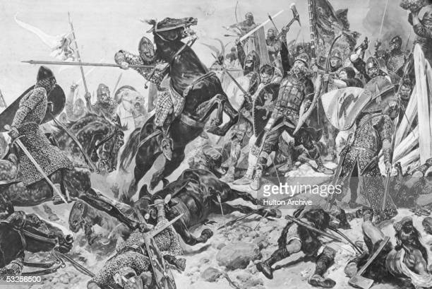 King Harold Godwinson makes his final stand against the Normans at the Battle of Hastings 14th October 1066 A painting by R Caton Woodville