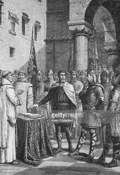 King Harold II aka Harold Godwinson swears an oath on a holy relic pledging his allegiance to William of Normandy France 1064 This story is depicted...