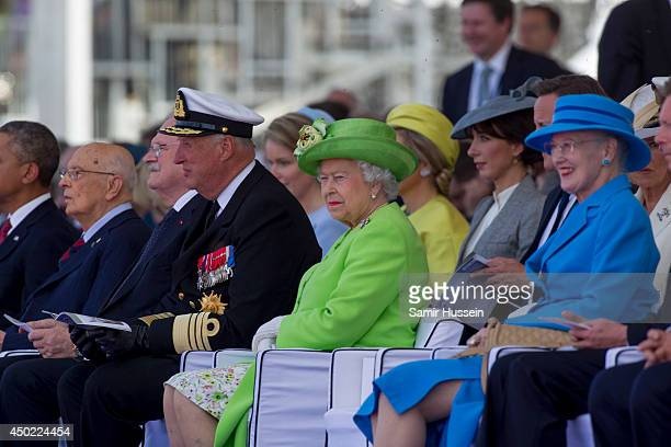 King Harold of Norway Queen Elizabeth II Samantha Cameron and Queen Margrethe II of Denmark attend a Ceremony to Commemorate DDay 70 on Sword Beach...